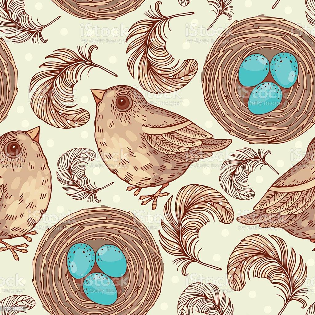 pattern with birds vector art illustration