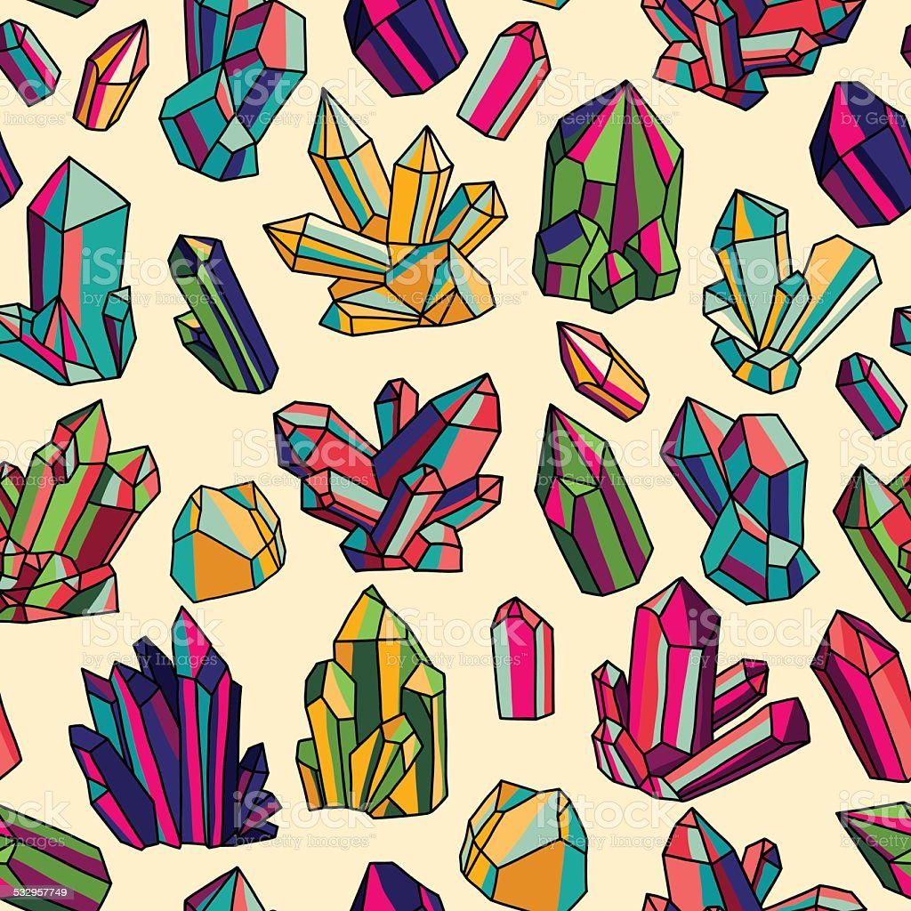 Pattern with bright crystals vector art illustration
