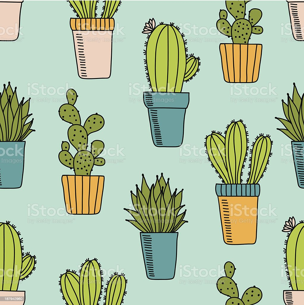 Pattern with cactus royalty-free stock vector art