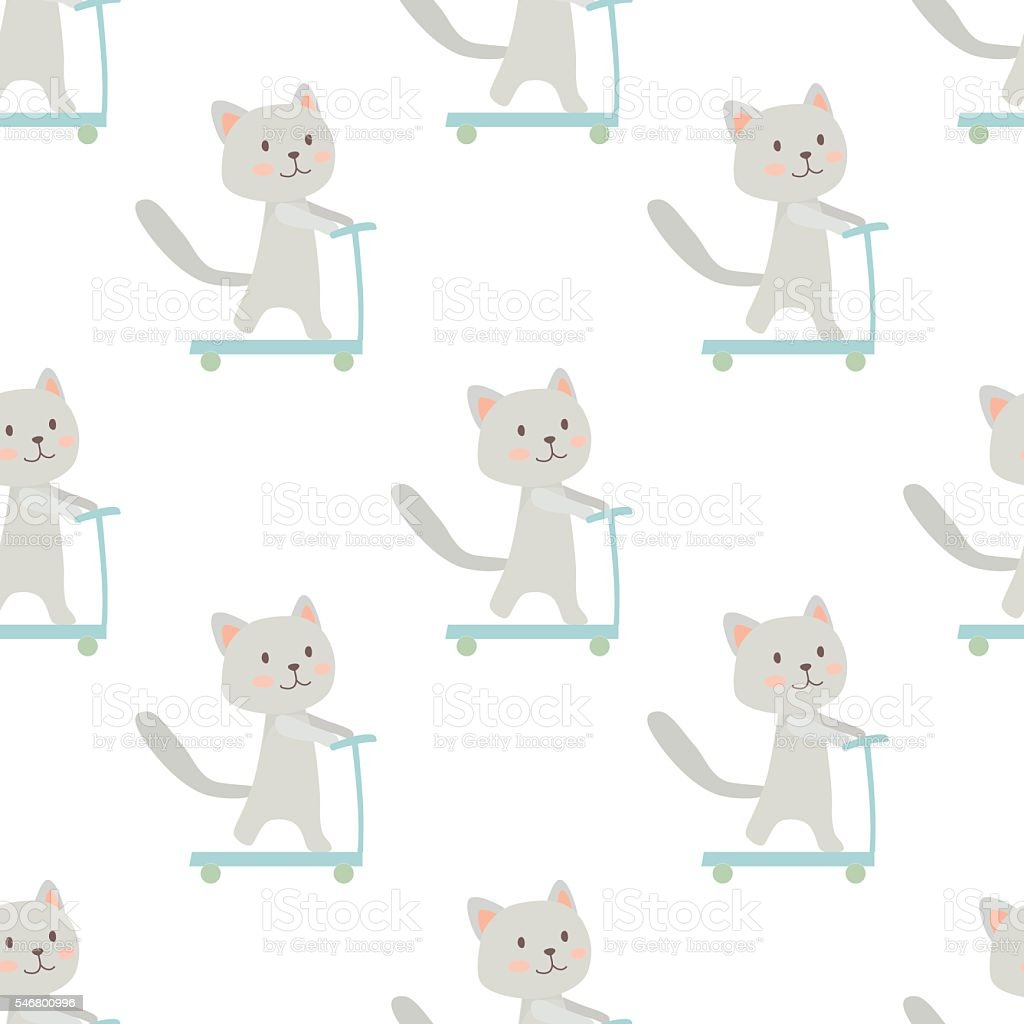 Pattern with cat riding a scooter vector art illustration
