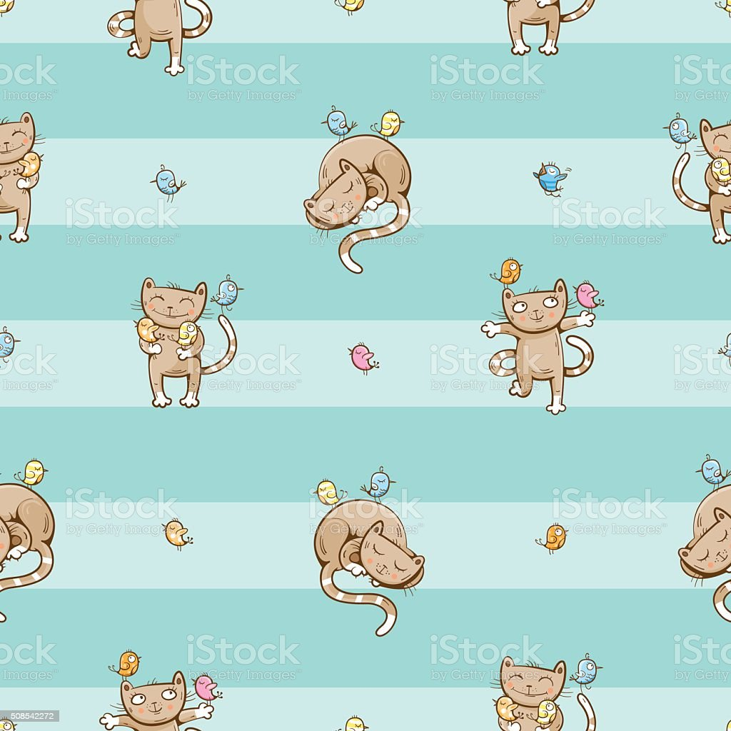 Pattern with cats. vector art illustration