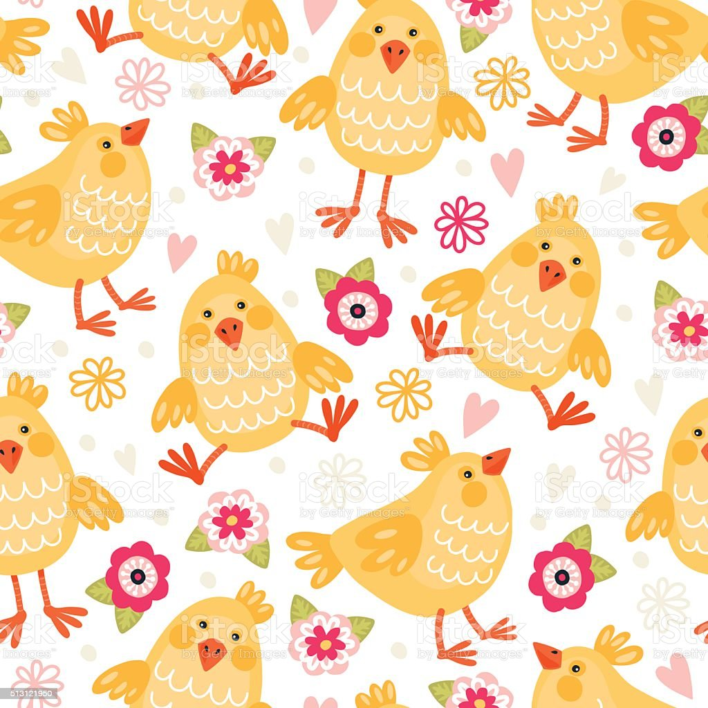 pattern with chickens vector art illustration