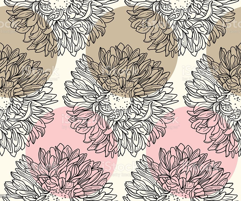 pattern with chrysanthemum vector art illustration