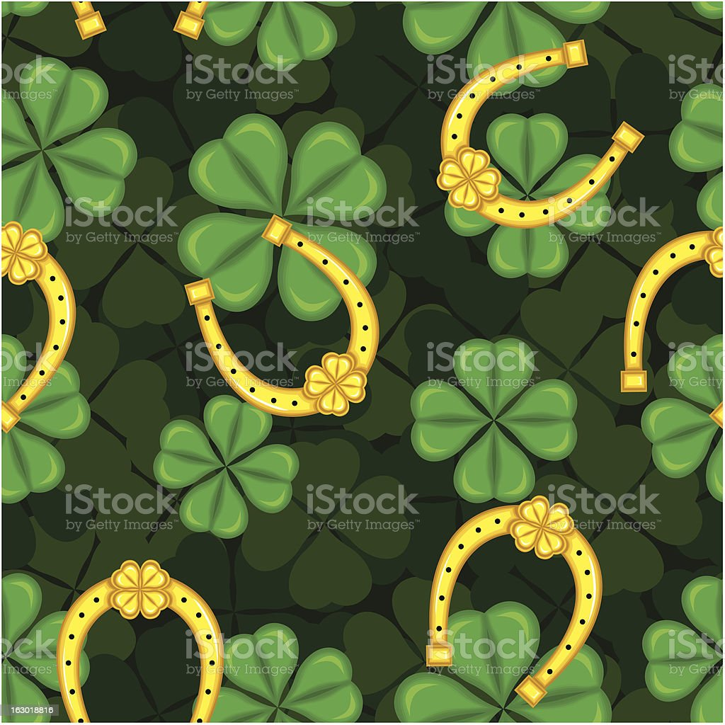 Pattern with clover and horseshoe royalty-free stock vector art