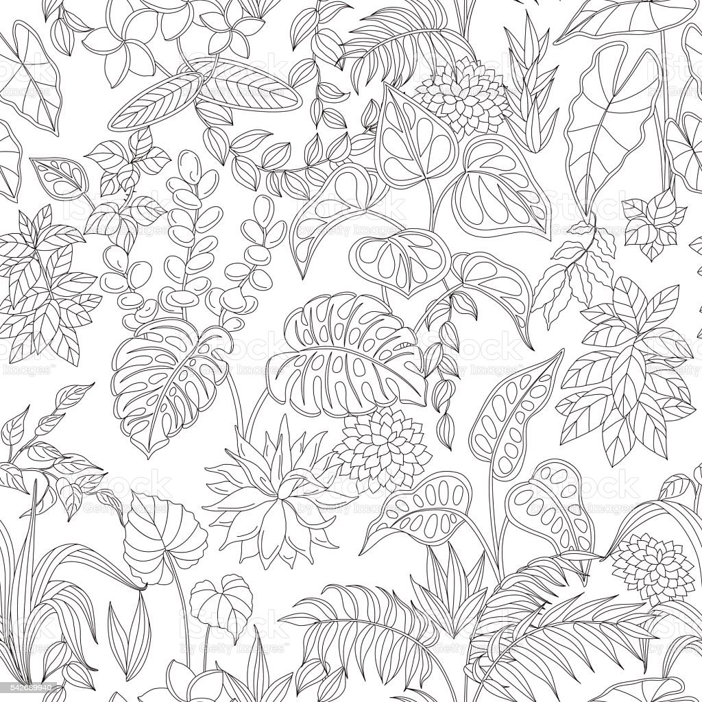 Pattern with contoured tropic plants vector art illustration
