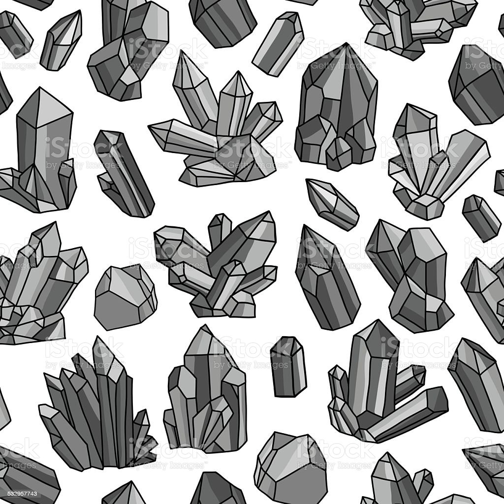 Pattern with crystals vector art illustration