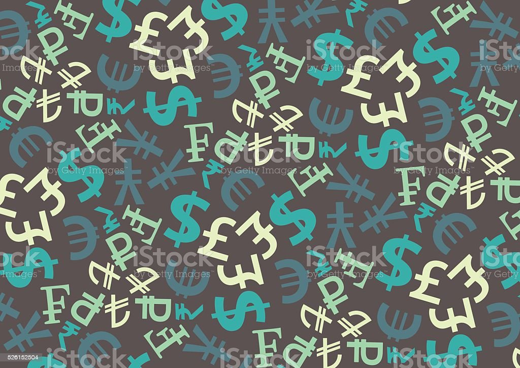 Pattern with currency symbols vector art illustration
