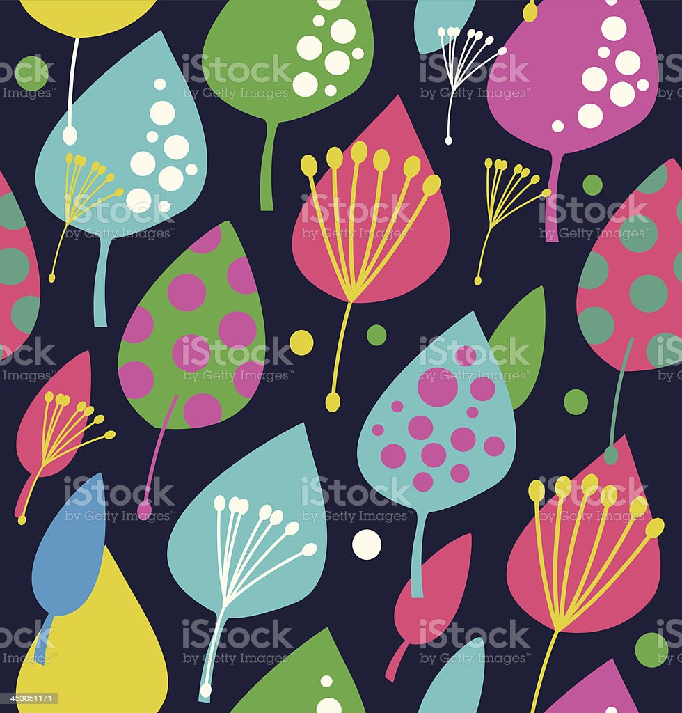 Pattern with decorative leaves royalty-free stock vector art
