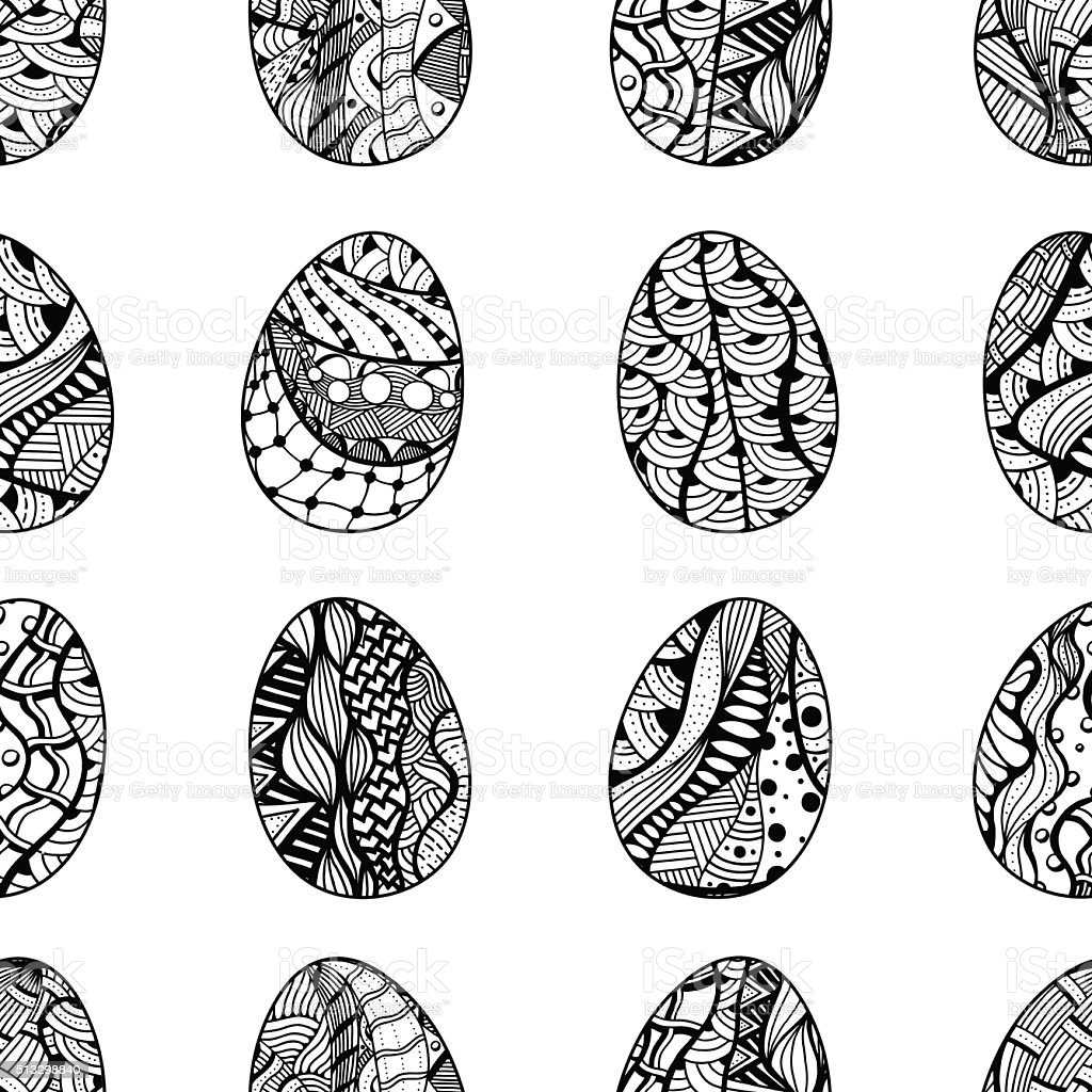 pattern with Easter eggs vector art illustration