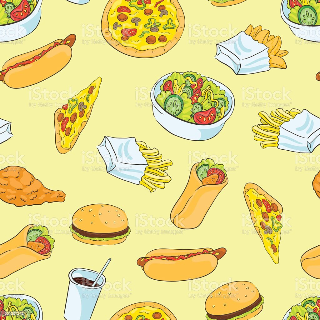 Pattern with fast food vector art illustration