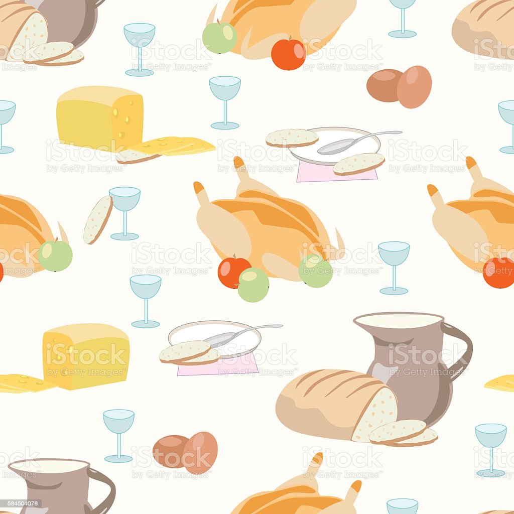 Pattern with food, dish, glass, baked chicken, bread and cheese royalty-free stock vector art