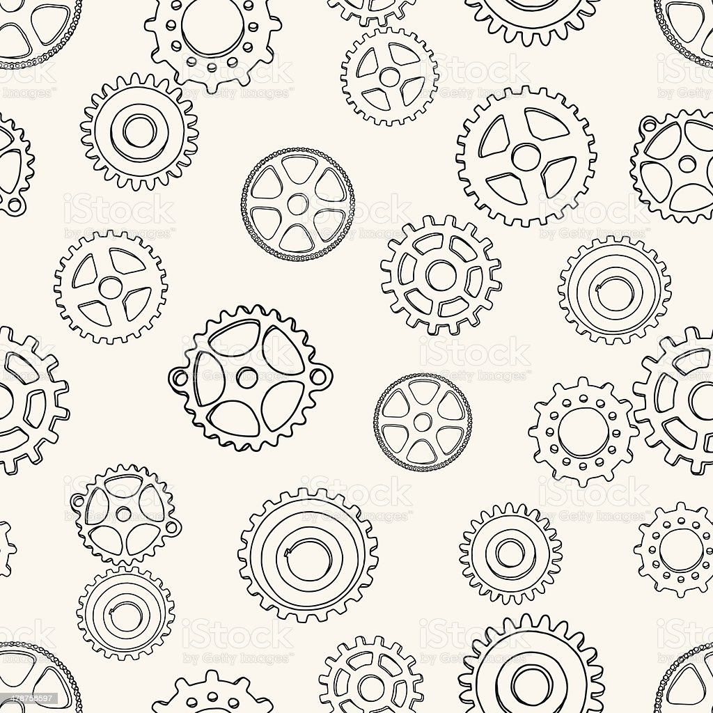 pattern with gears vector art illustration