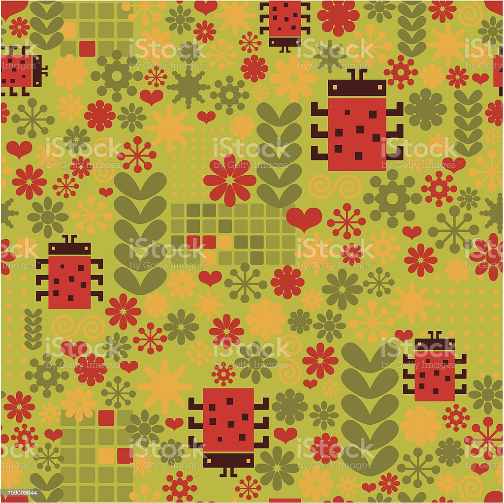 Pattern with ladybird. royalty-free stock vector art