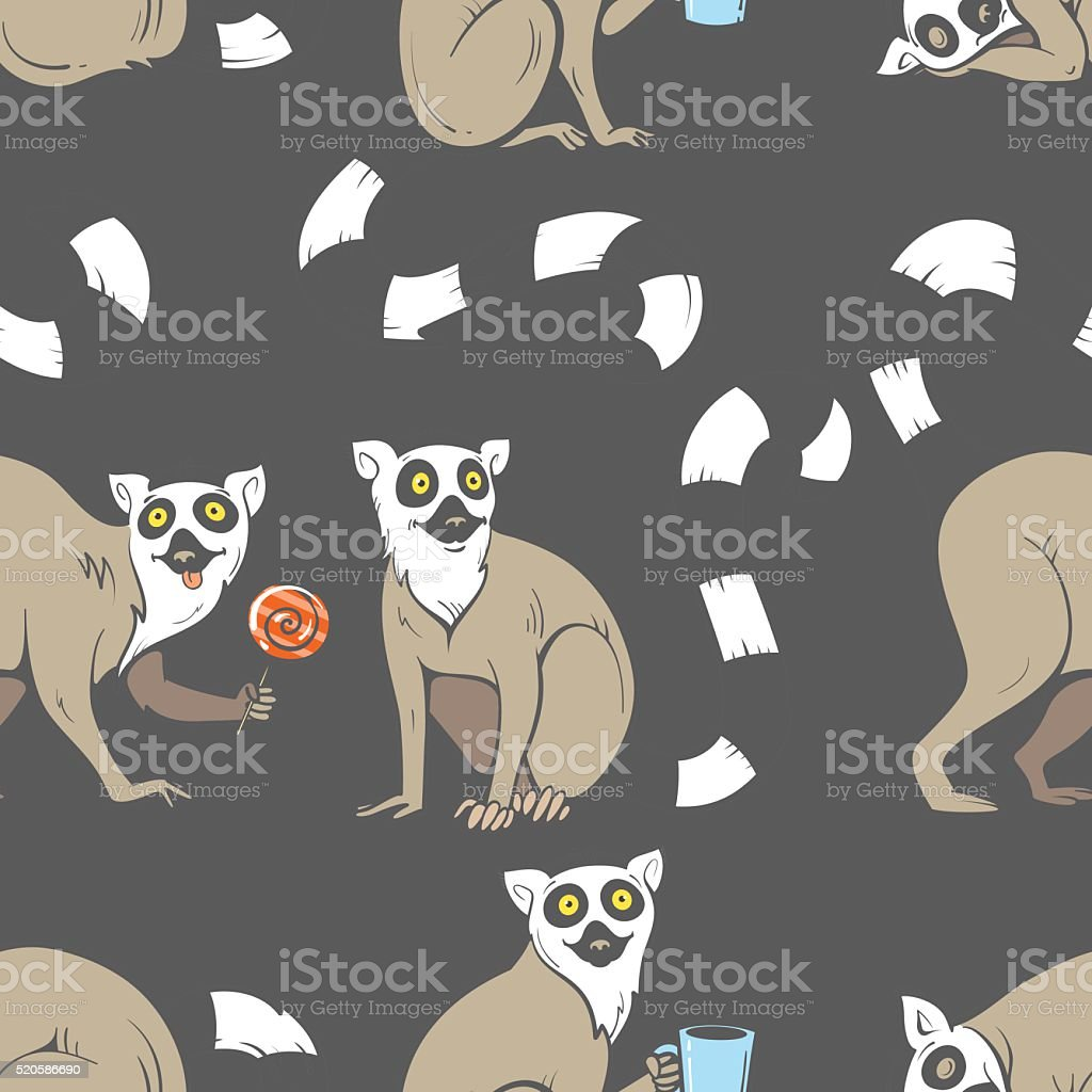 Pattern with lemurs. vector art illustration