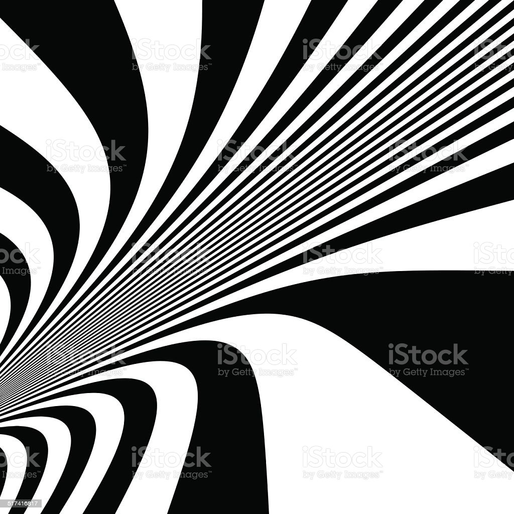 Pattern with optical illusion. Black and white background. vector art illustration