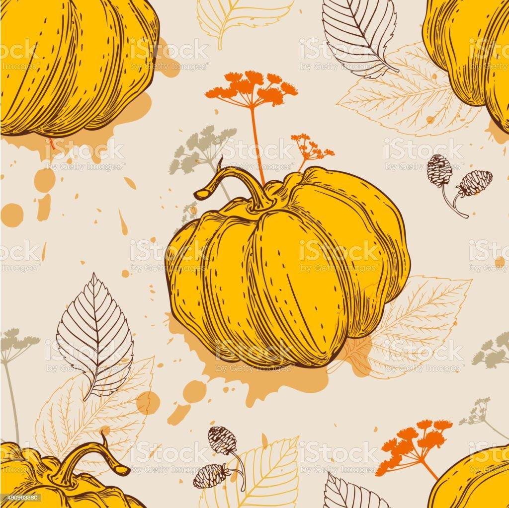 Pattern with orange pumpkin and leaves vector art illustration