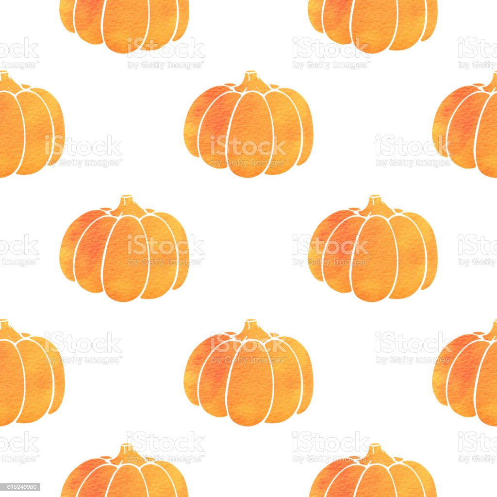 Pattern with orange watercolor pumpkin vector art illustration