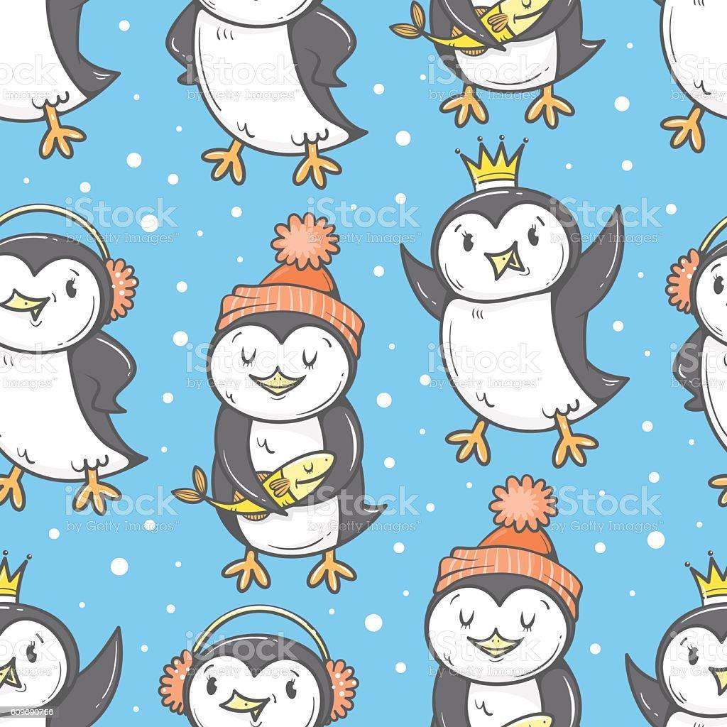 Pattern with penguins. vector art illustration