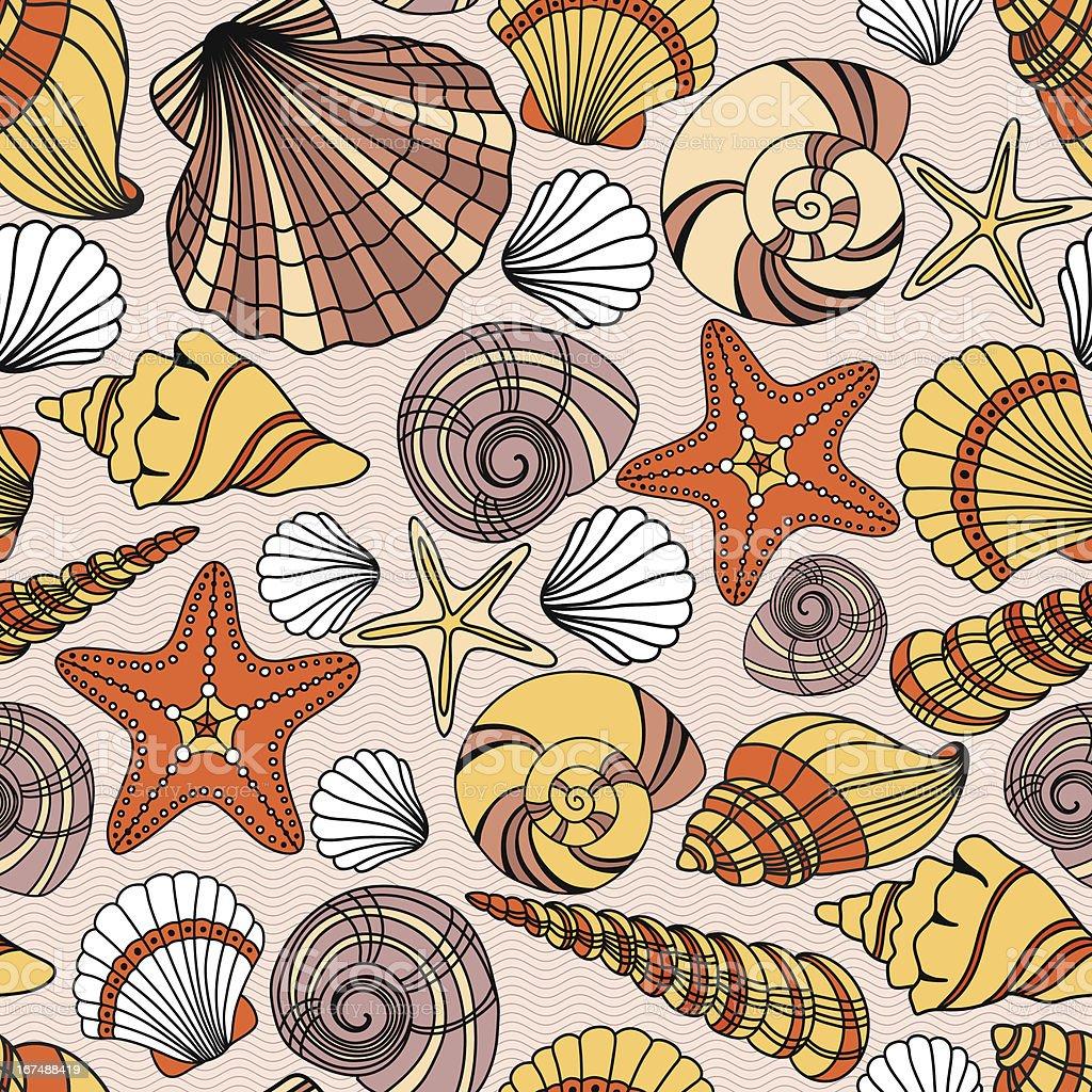 Pattern with seashells royalty-free stock vector art