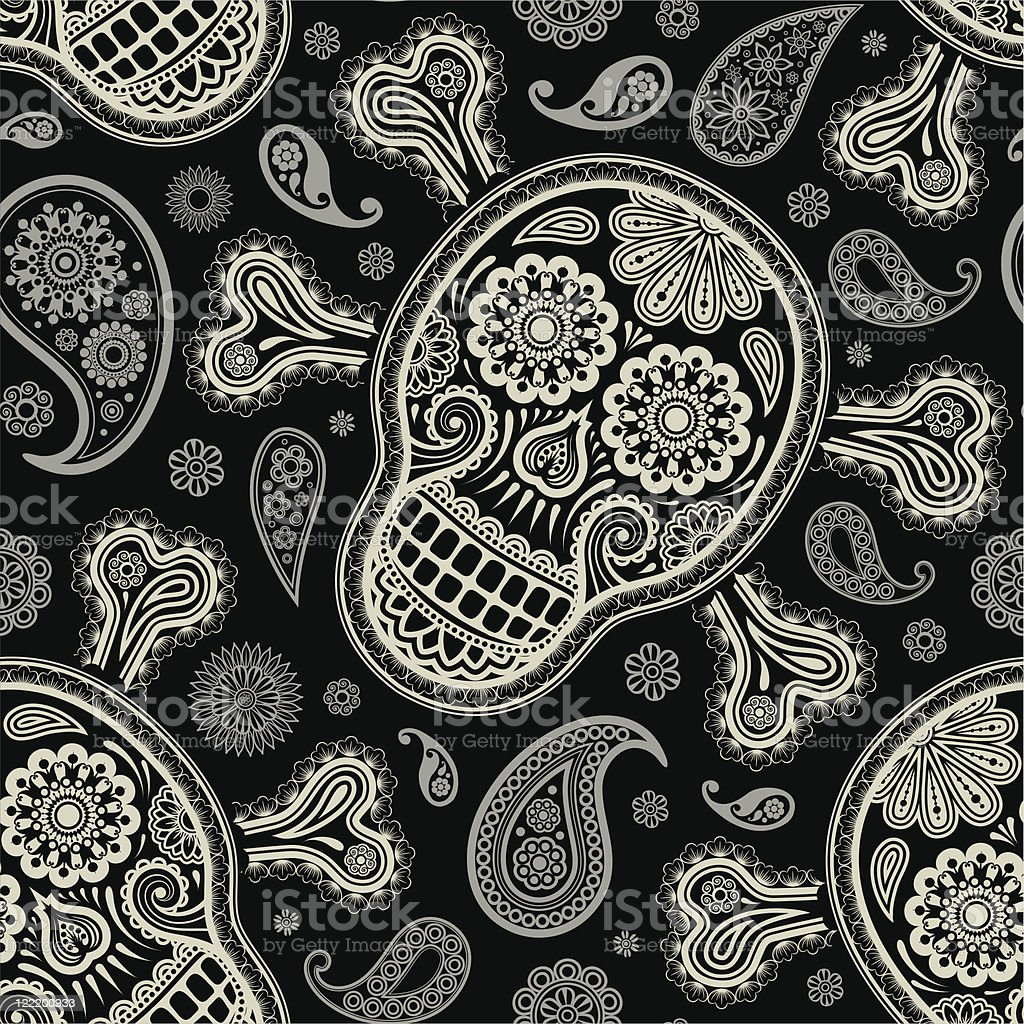 pattern with skull and peisley royalty-free stock vector art