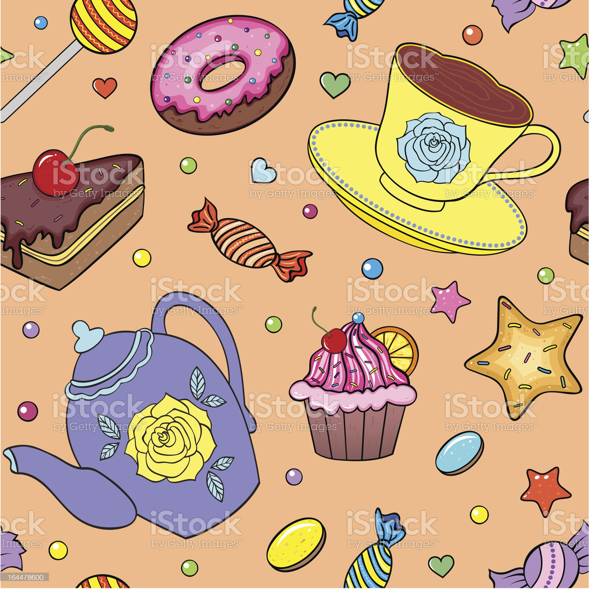 pattern with sweets, teapot and cup royalty-free stock vector art