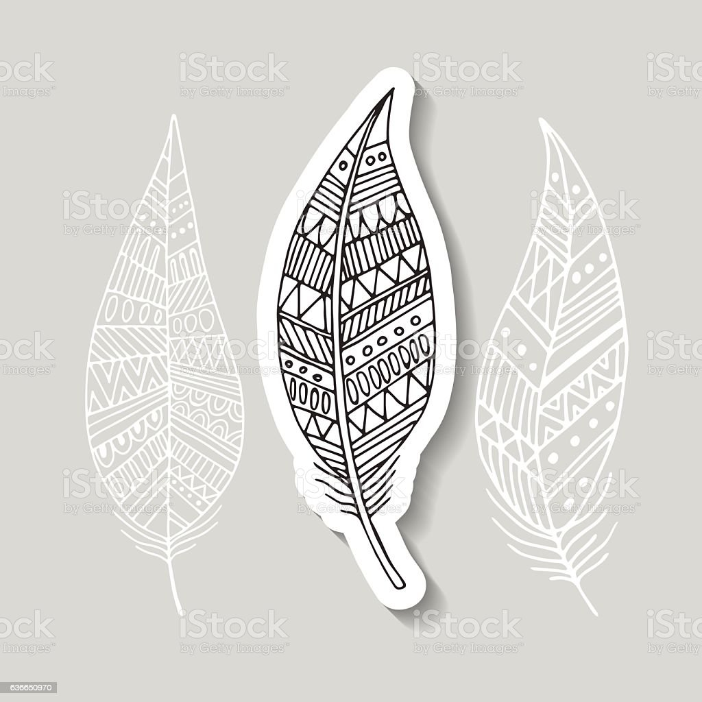 pattern with the image of bird feathers. Boho style. Vector royalty-free stock vector art