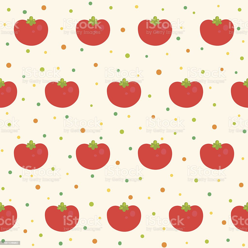 Pattern with tomatoes vector art illustration