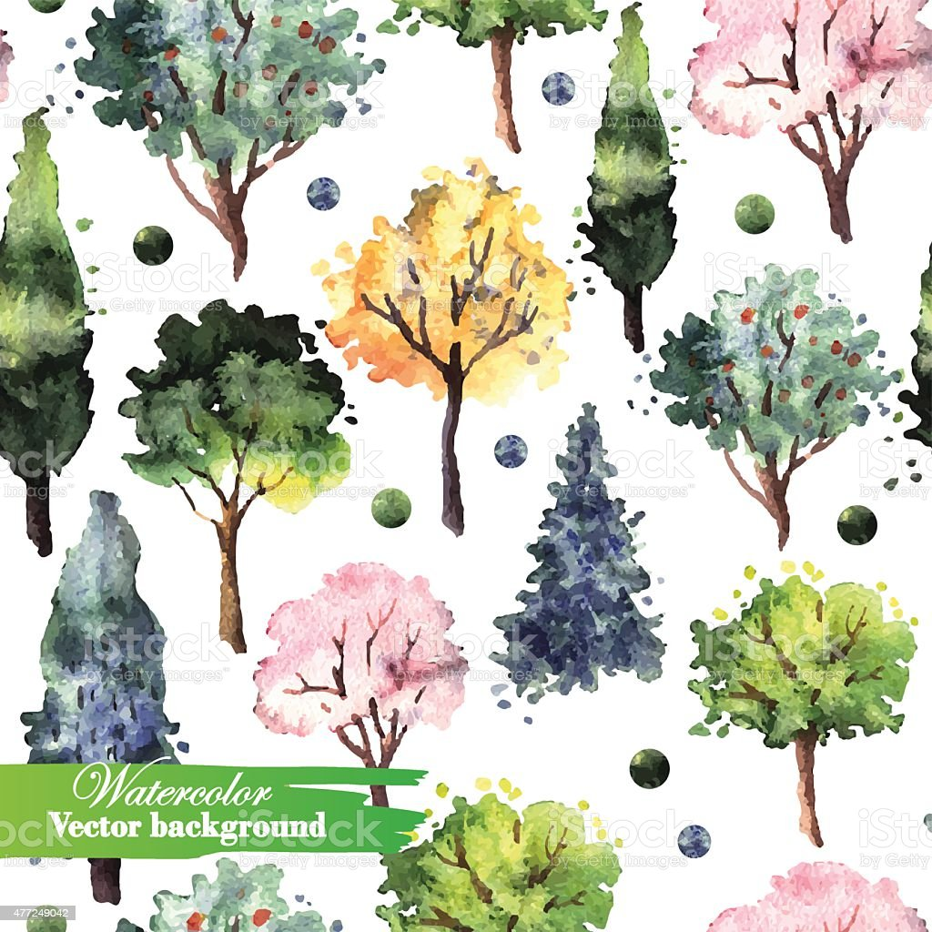 Pattern with watercolor trees vector art illustration