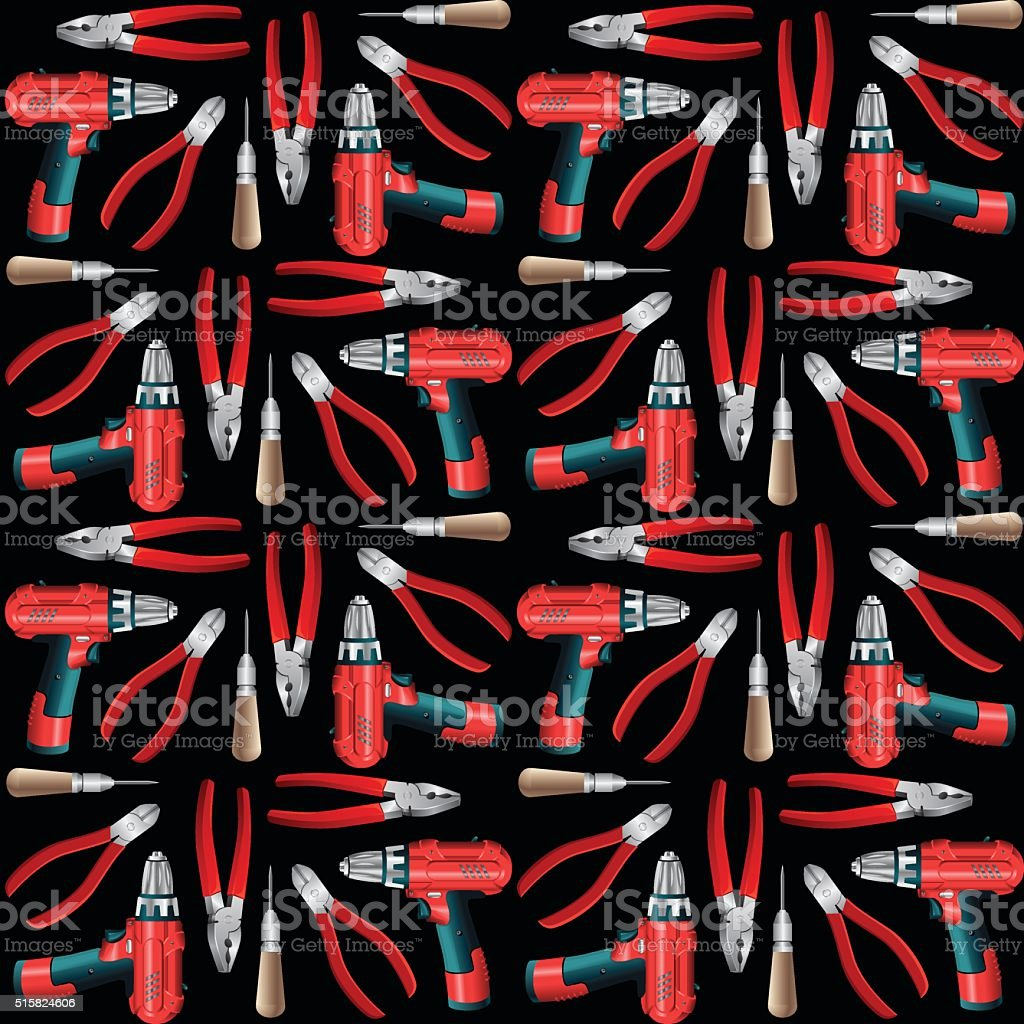 Pattern with work hand tools. vector art illustration
