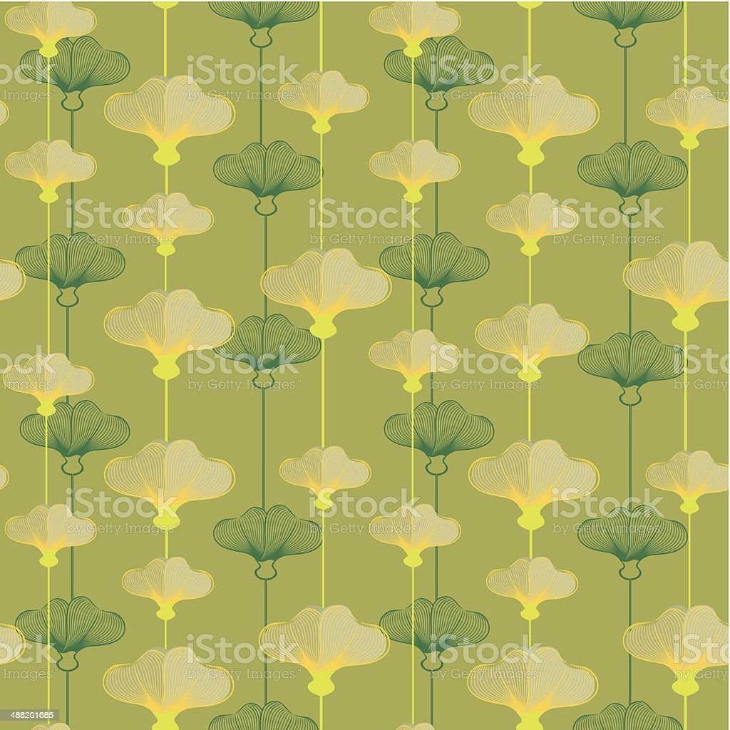 Pattern With Yellowcup Flowers vector art illustration