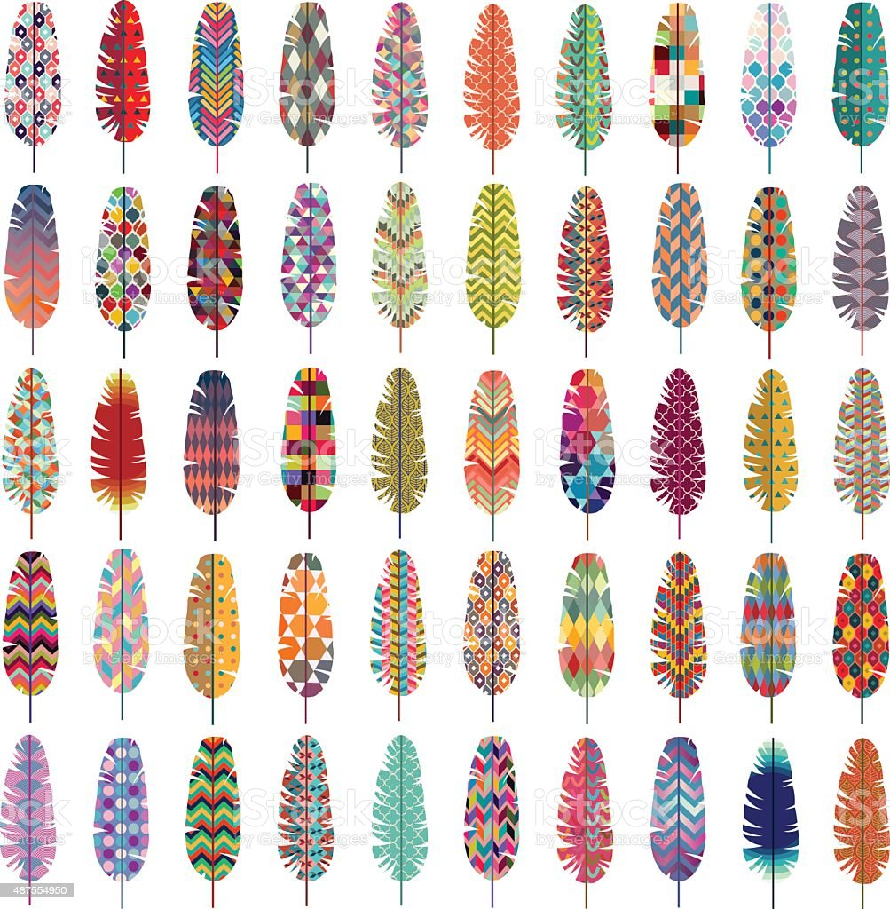 Patterned Colorful Feathers Vector vector art illustration