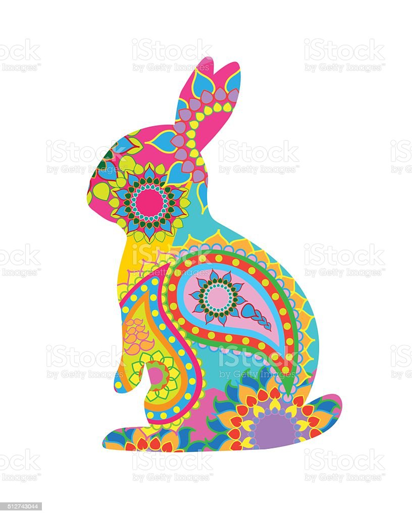 Patterned Easter Rabbit vector art illustration