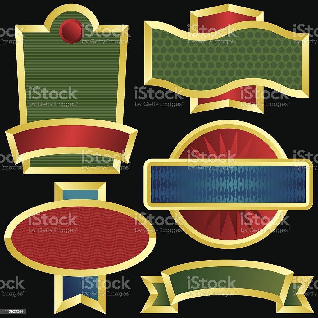 Patterned Metallic Emblems royalty-free stock vector art