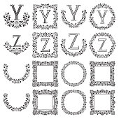 Patterned monograms set of letters Y, Z.