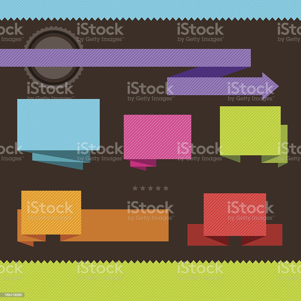 Patterned origami banners and tags. royalty-free stock vector art