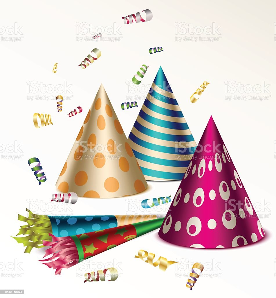 Patterned Party Hats and Noisemakers with Metallic Confetti vector art illustration