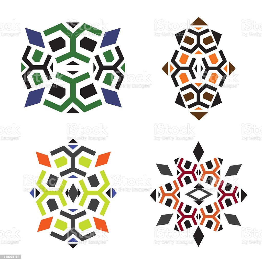 Patterns to create the turtles, African and ethnic motives vector art illustration