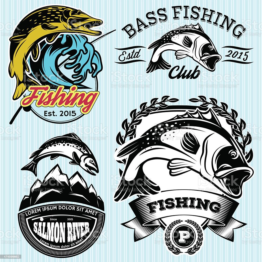 patterns with emblems for fishing with pike, salmon, bass vector art illustration