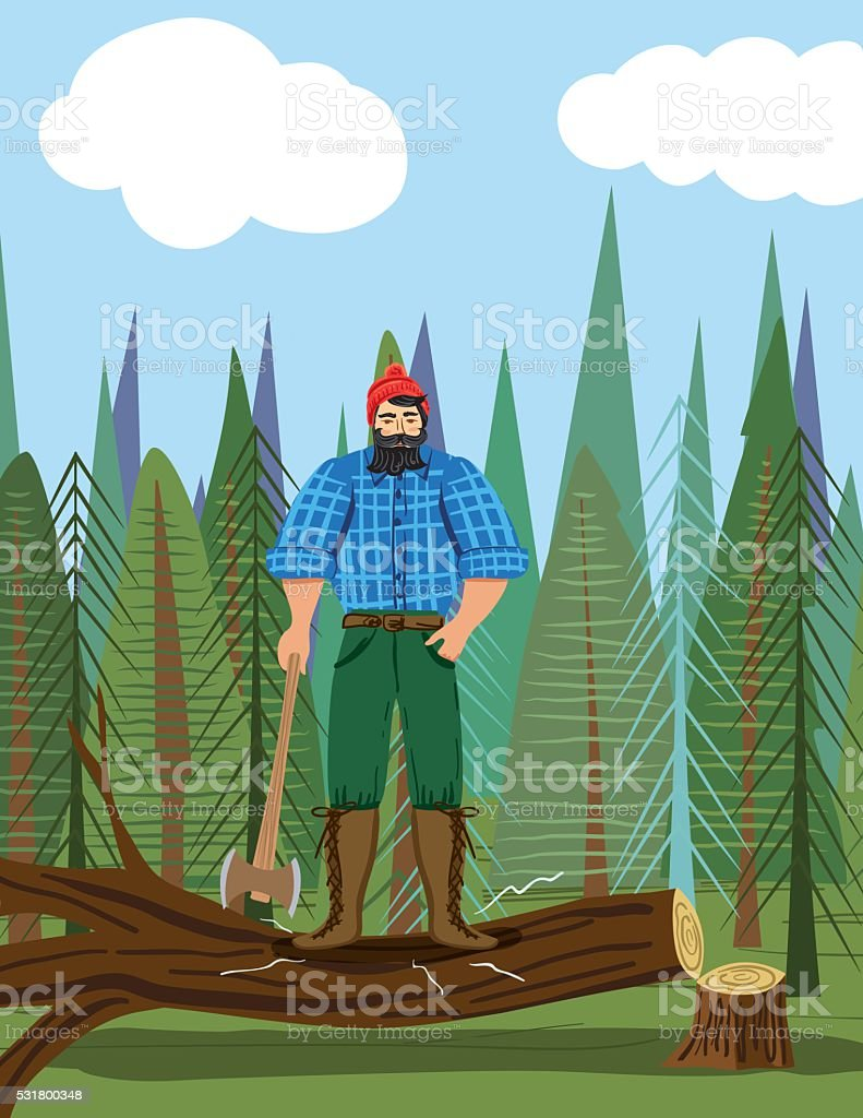 Paul Bunyan Style Lumberjack In the Woods With An Axe vector art illustration