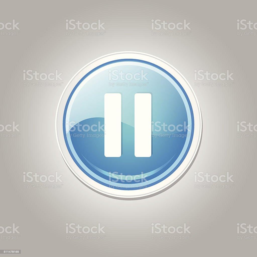 Pause Circular Vector Blue Web Icon Button vector art illustration