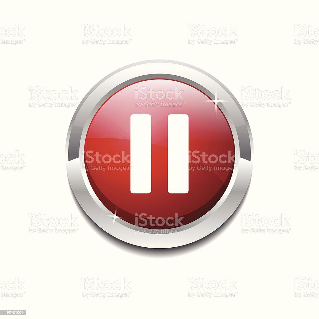 Pause Circular Vector Red Web Icon Button vector art illustration