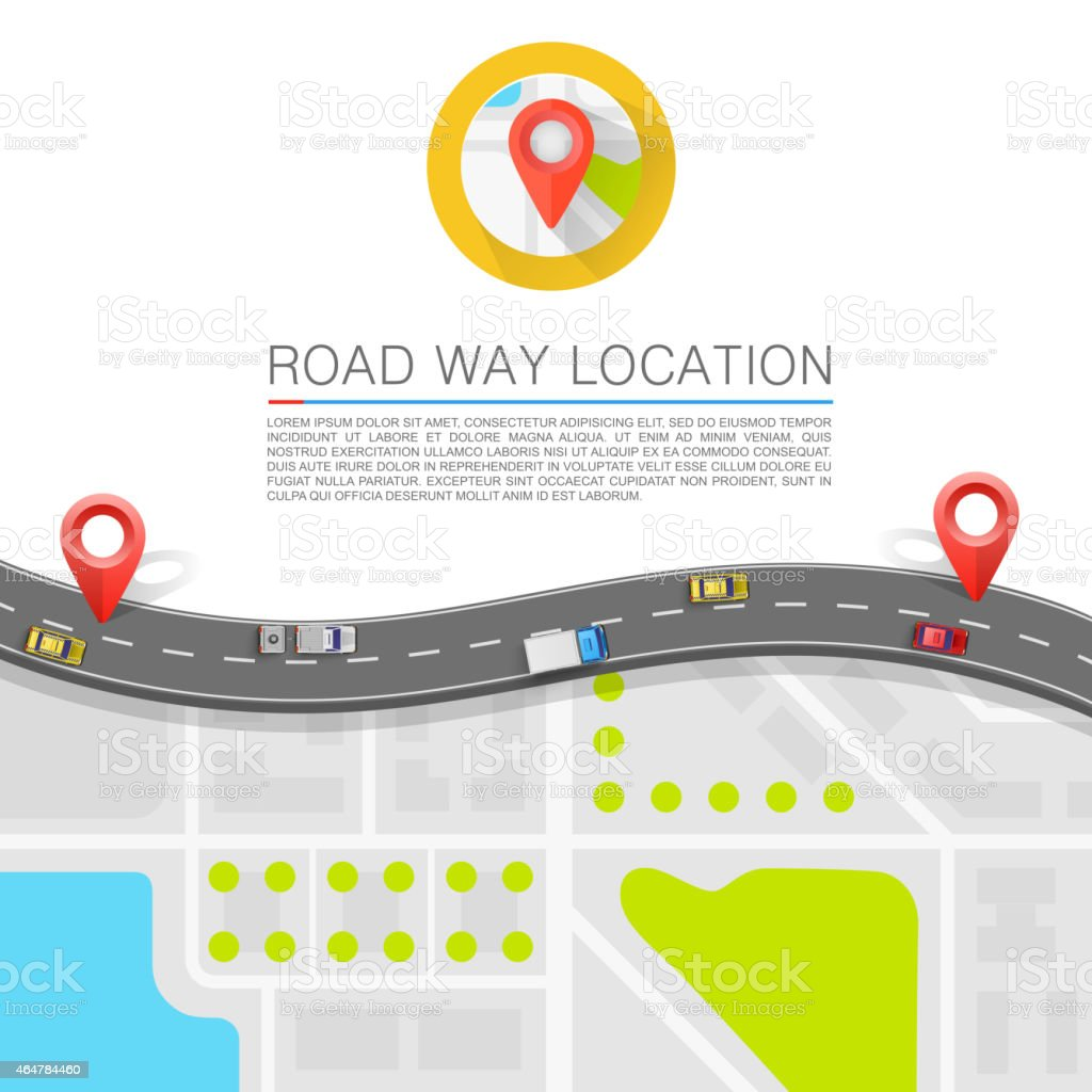 Paved path on the road vector art illustration