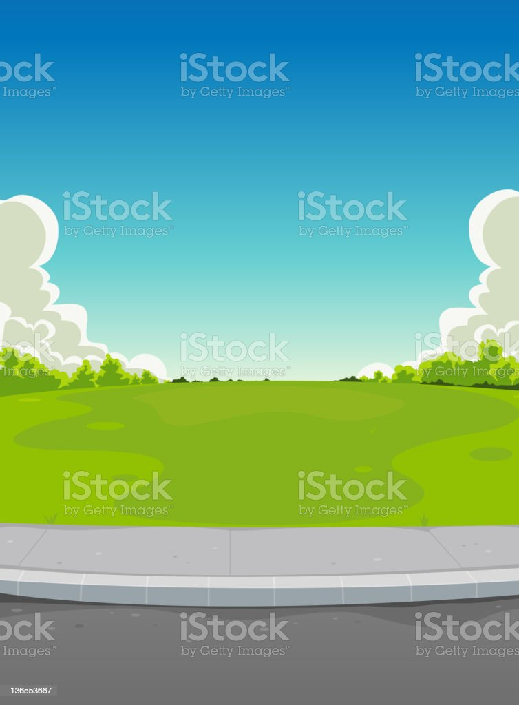 Pavement And Green Park Background vector art illustration