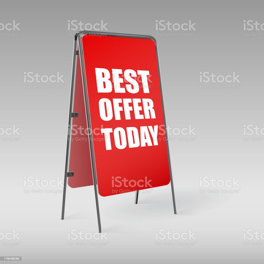 Pavement sign with the text Best offer today royalty-free stock vector art