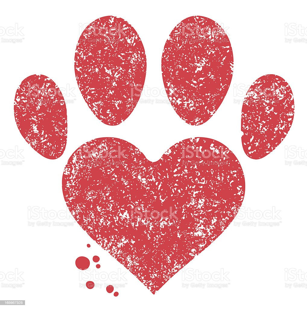 Paw and heart shape vector art illustration