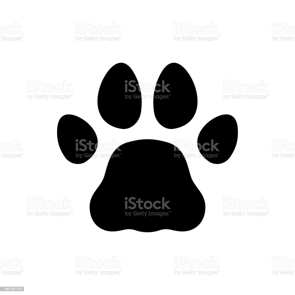 Paw Black Print Icon on White Background. Vector vector art illustration