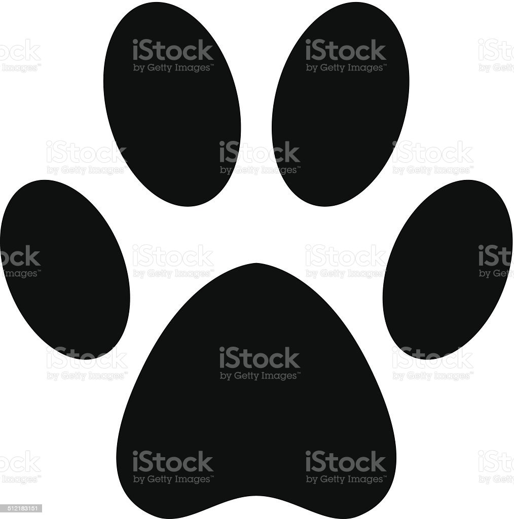 Paw black silhouette vector art illustration