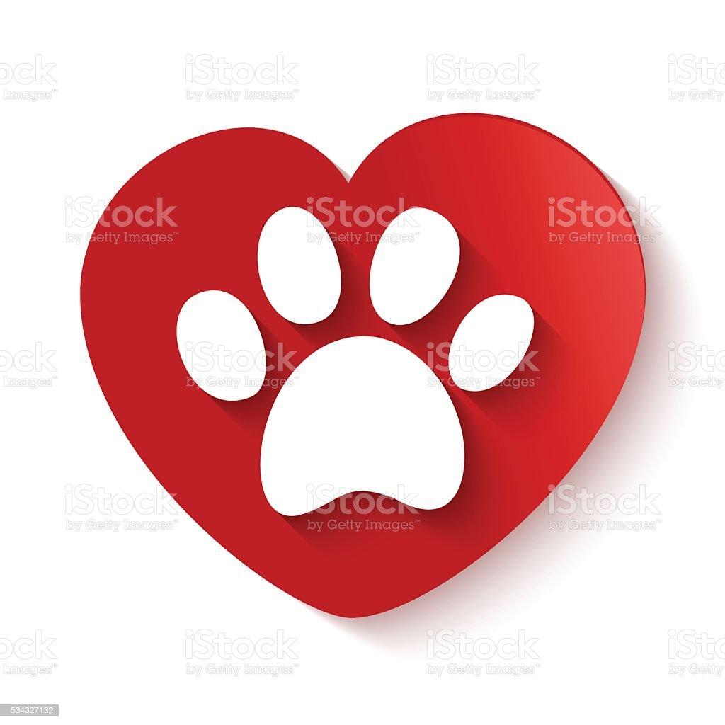 paw print over heart shape vector art illustration