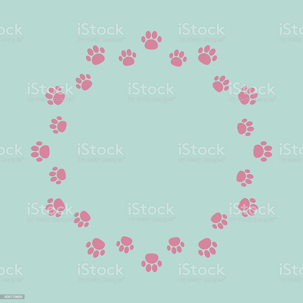 Paw print round abstract frame. Empty template. royalty-free stock vector art