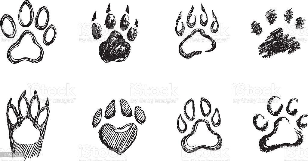 Paw Print Set vector art illustration